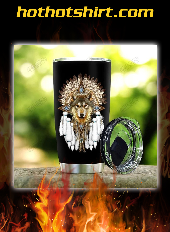 Native wolf dreamcatcher tumbler 1