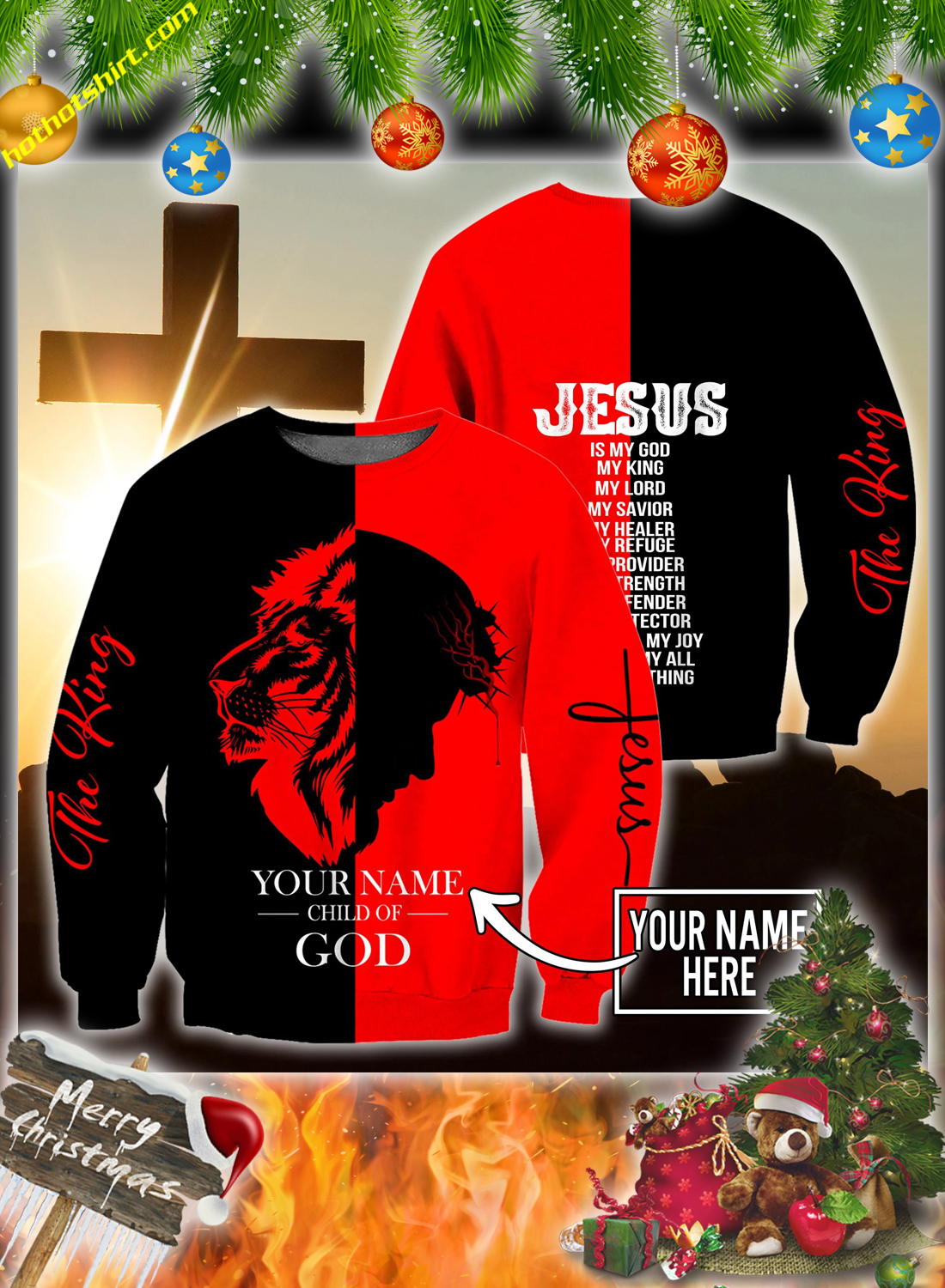 Peronalized custom name Jesus child of god 3d all over printed hoodie and shirt 4