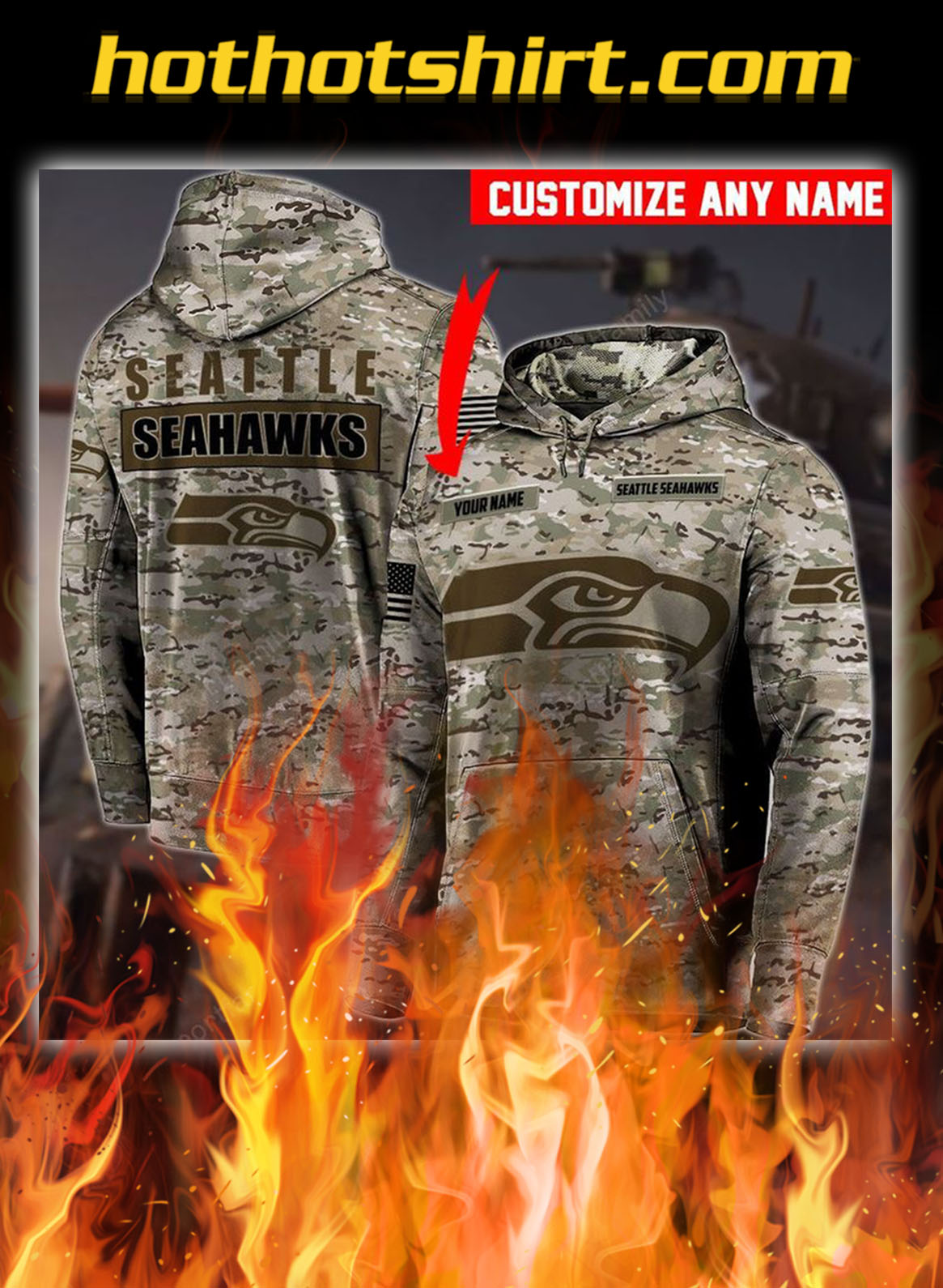 Personalized Customize name seattle seahawks camo 3d hoodie- pic 1