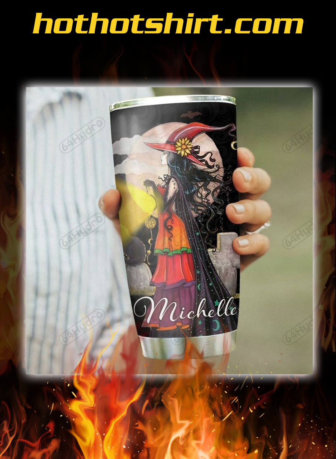 Personalized custom name Crazy witch love me or hate me tumbler 1