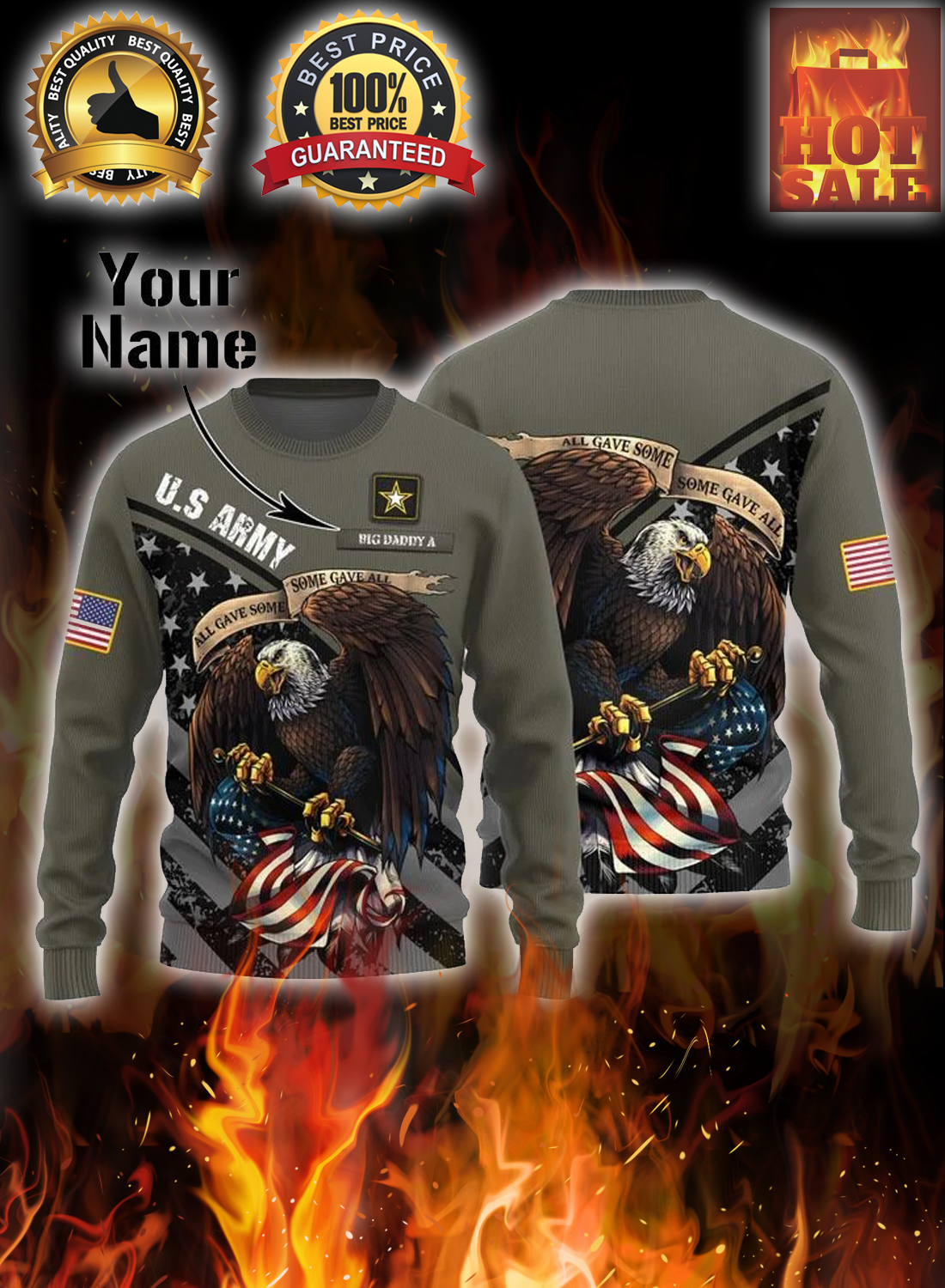 Personalized custom name US army all gave some eagle christmas sweater 1