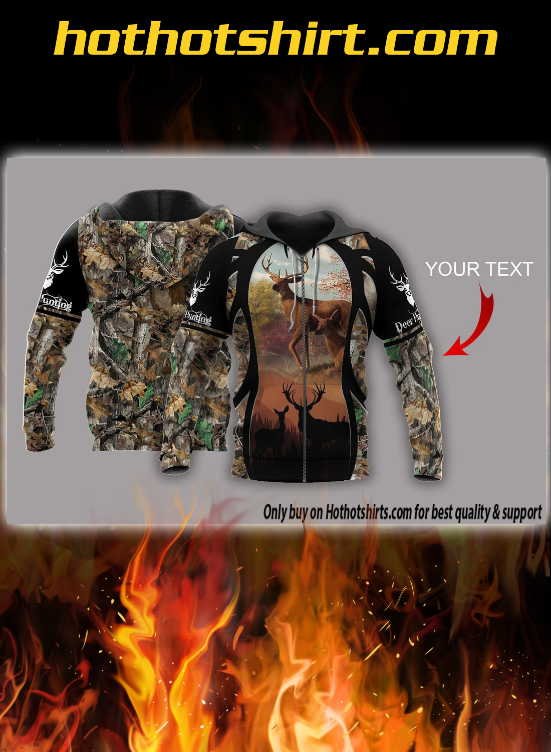 Personalized custom name deer hunting 3d pullover hoodie 1