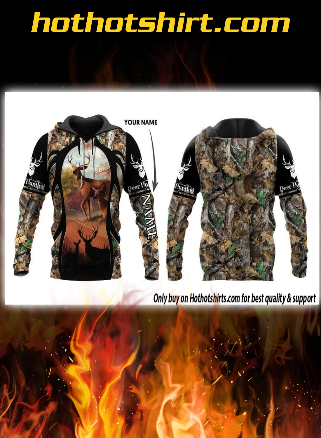 Personalized custom name deer hunting 3d pullover hoodie