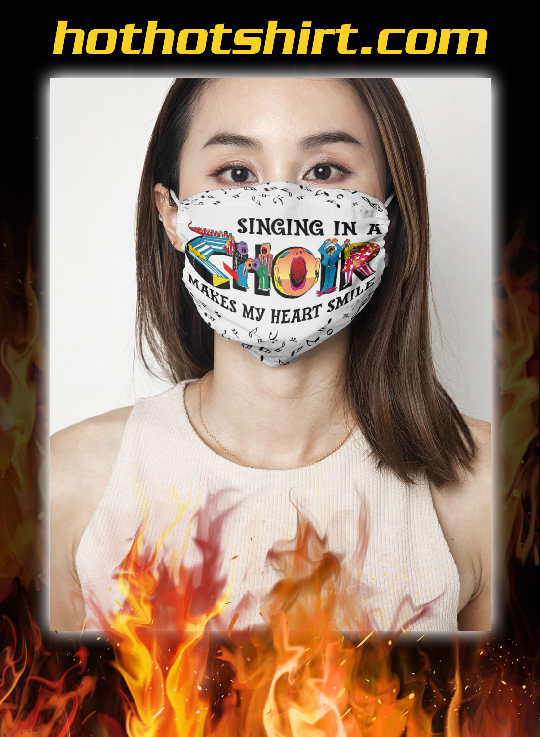 Singing in a choir makes my heart smile face mask 1