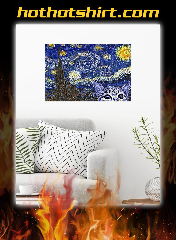 Starry night cat kitten Poster 1