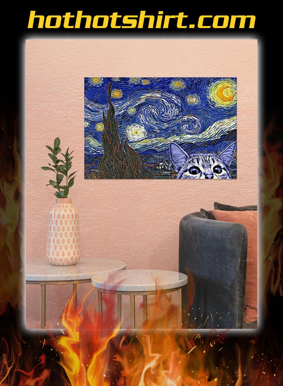 Starry night cat kitten Poster 2