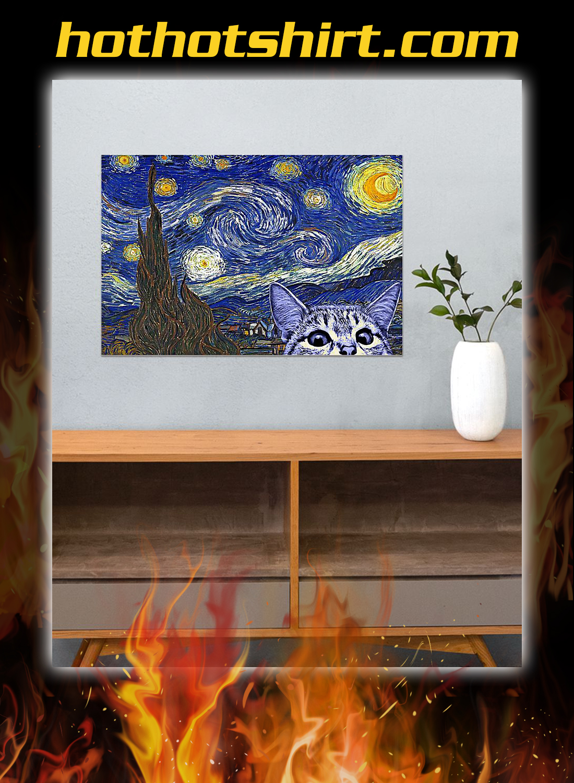 Starry night cat kitten Poster 3