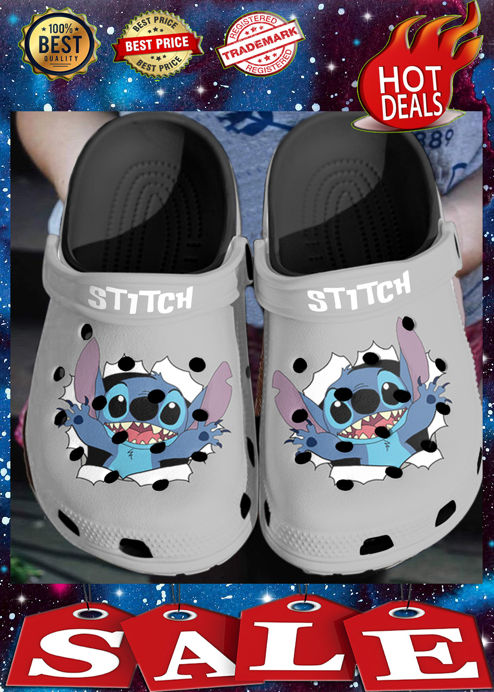 Stitch crocs crocband 3