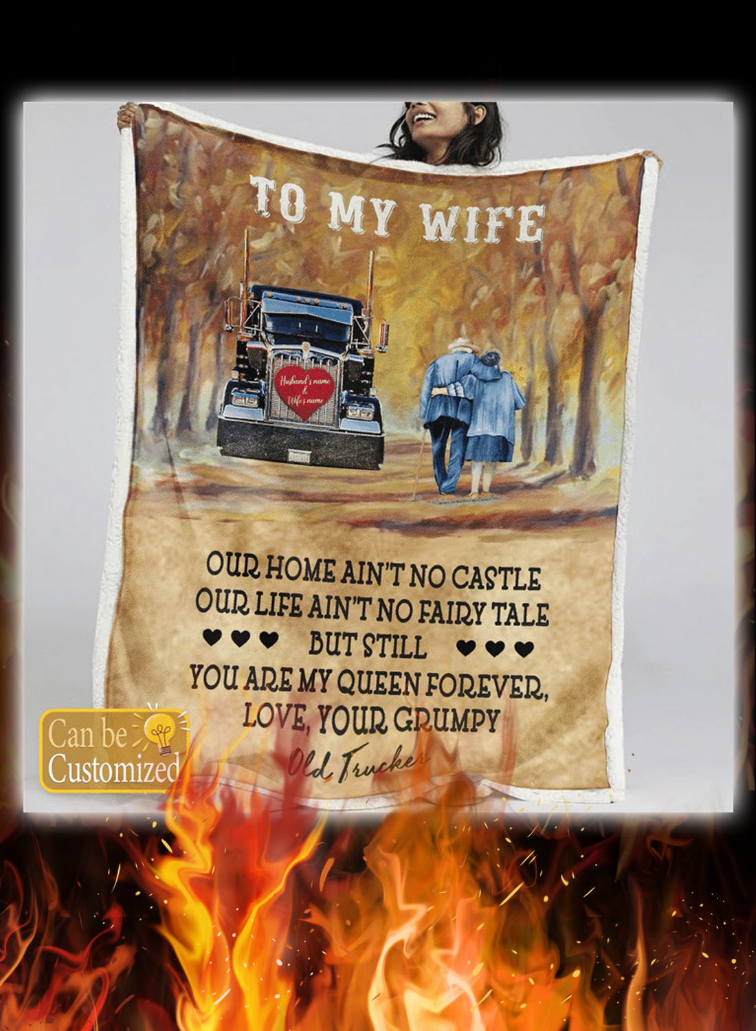 Trucker to my wife personalized custom name blanket 1