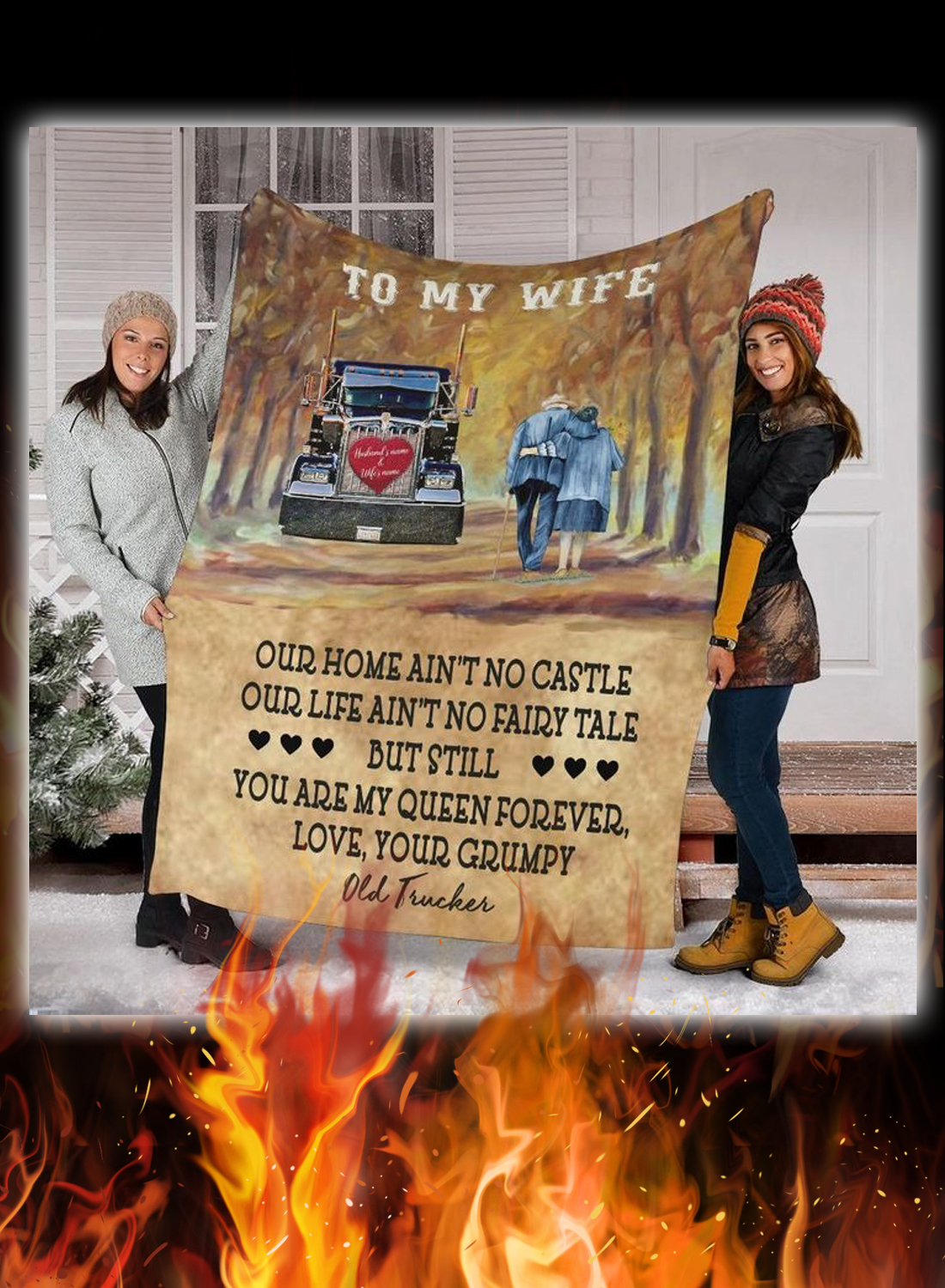 Trucker to my wife personalized custom name blanket 2