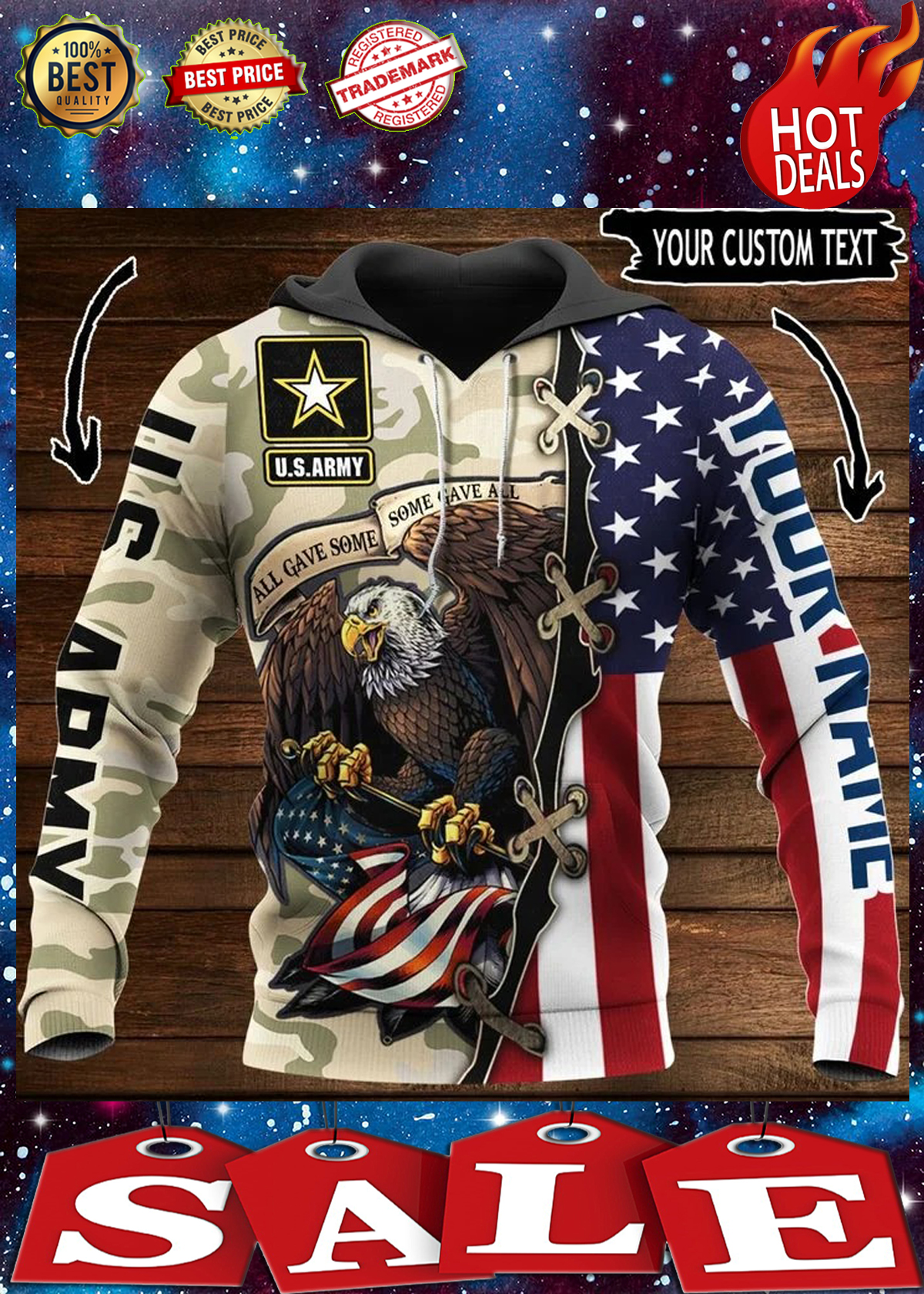 Us army all gave some some gave all personalize custom name 3d hoodie 1