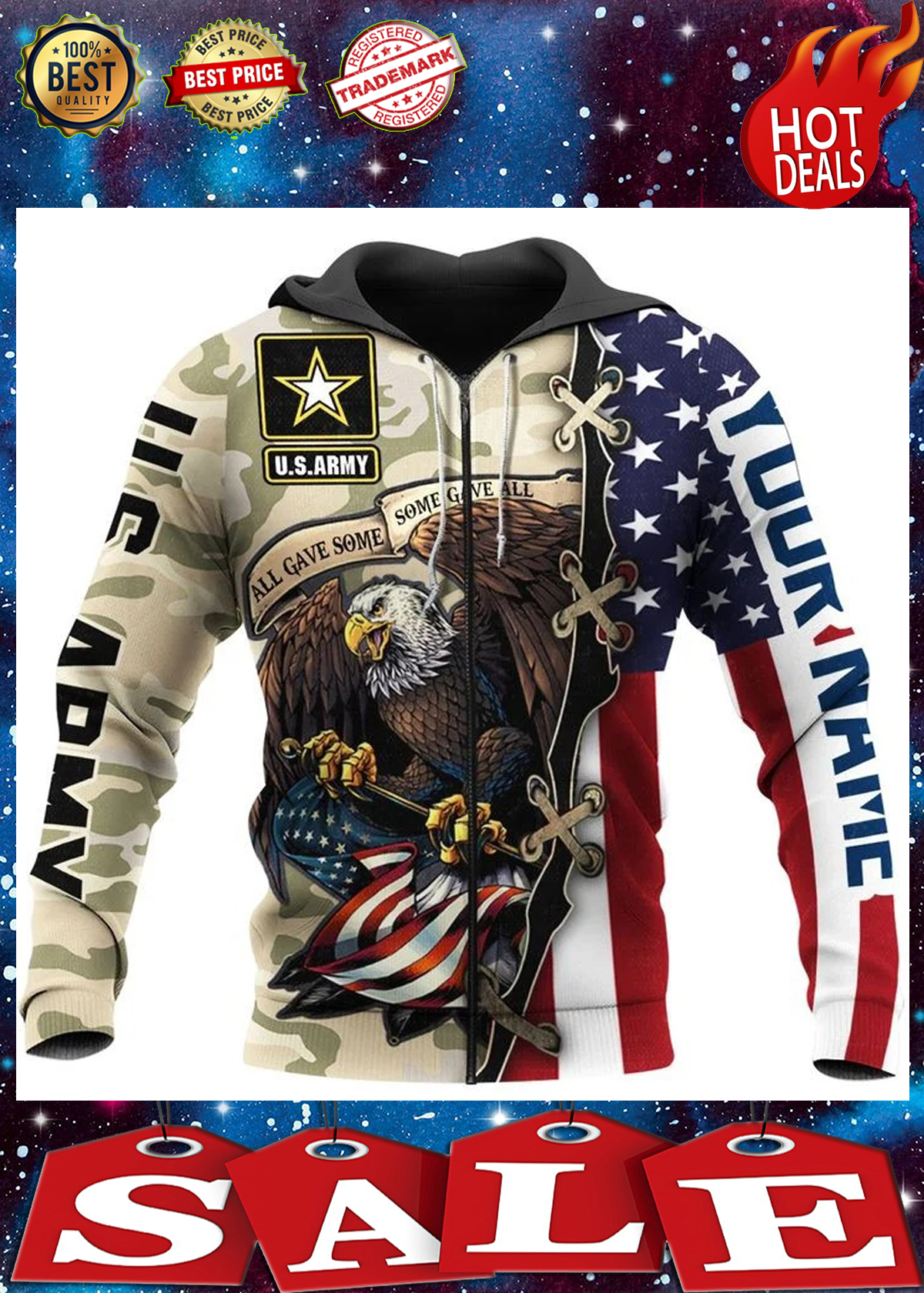 Us army all gave some some gave all personalize custom name 3d hoodie 2