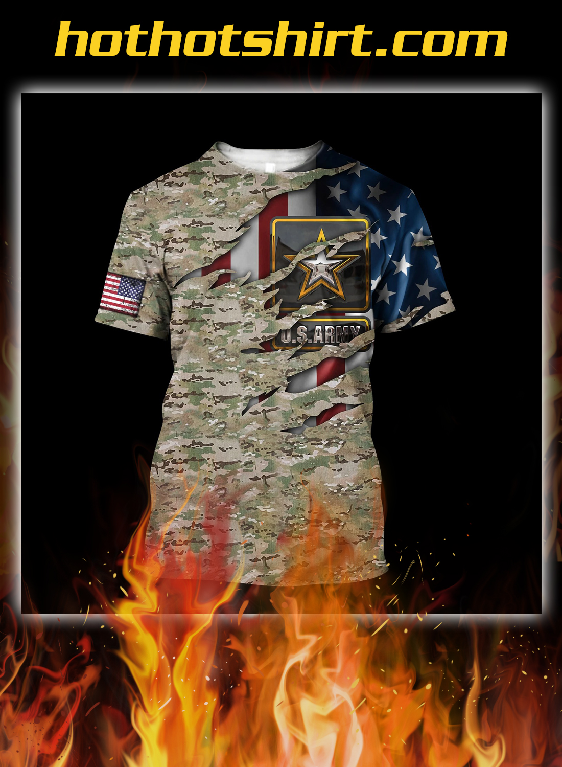 Us army veteran camo american flag 3d all over printed shirt