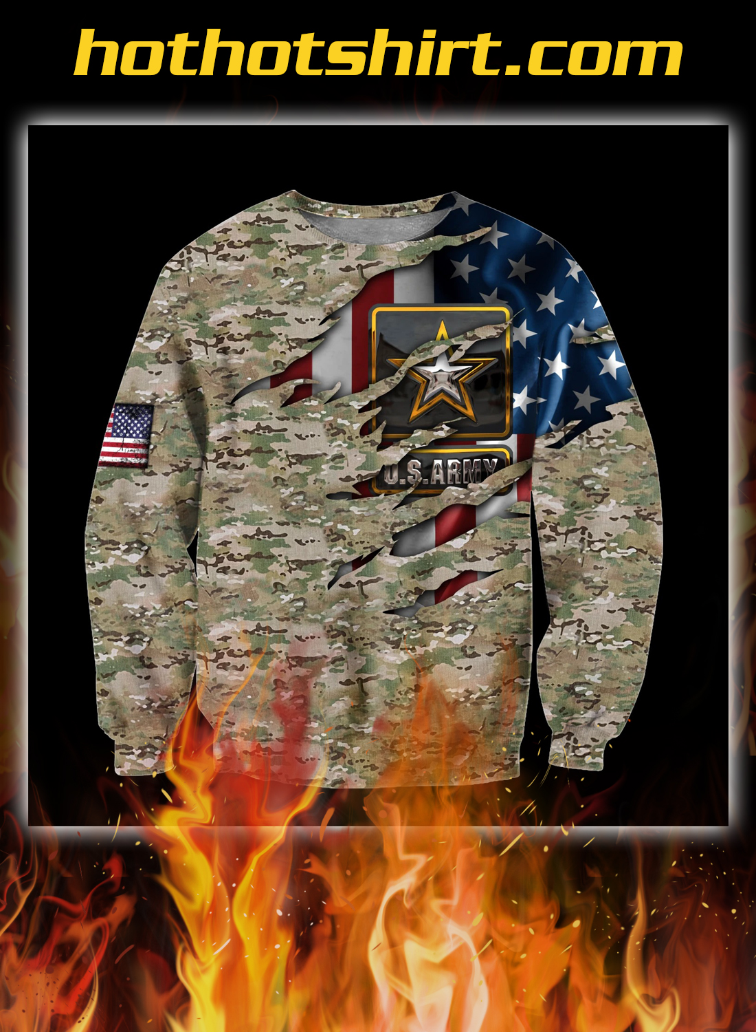 Us army veteran camo american flag 3d all over printed sweatshirt