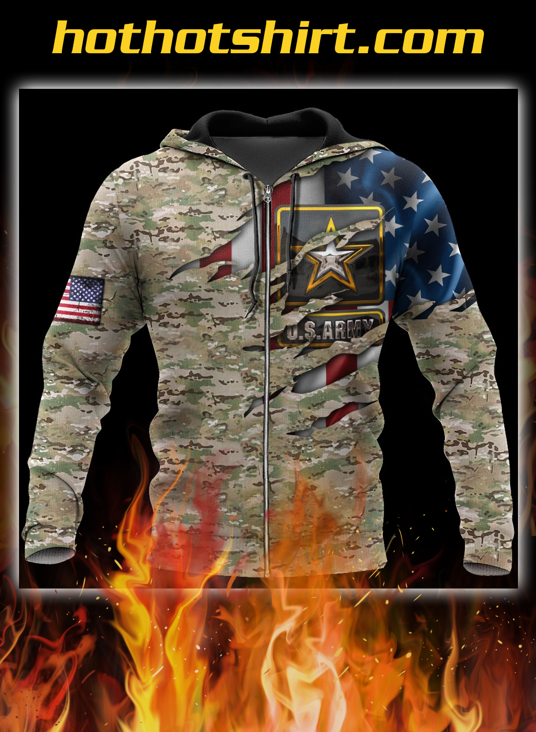 Us army veteran camo american flag 3d all over printed zip hoodie