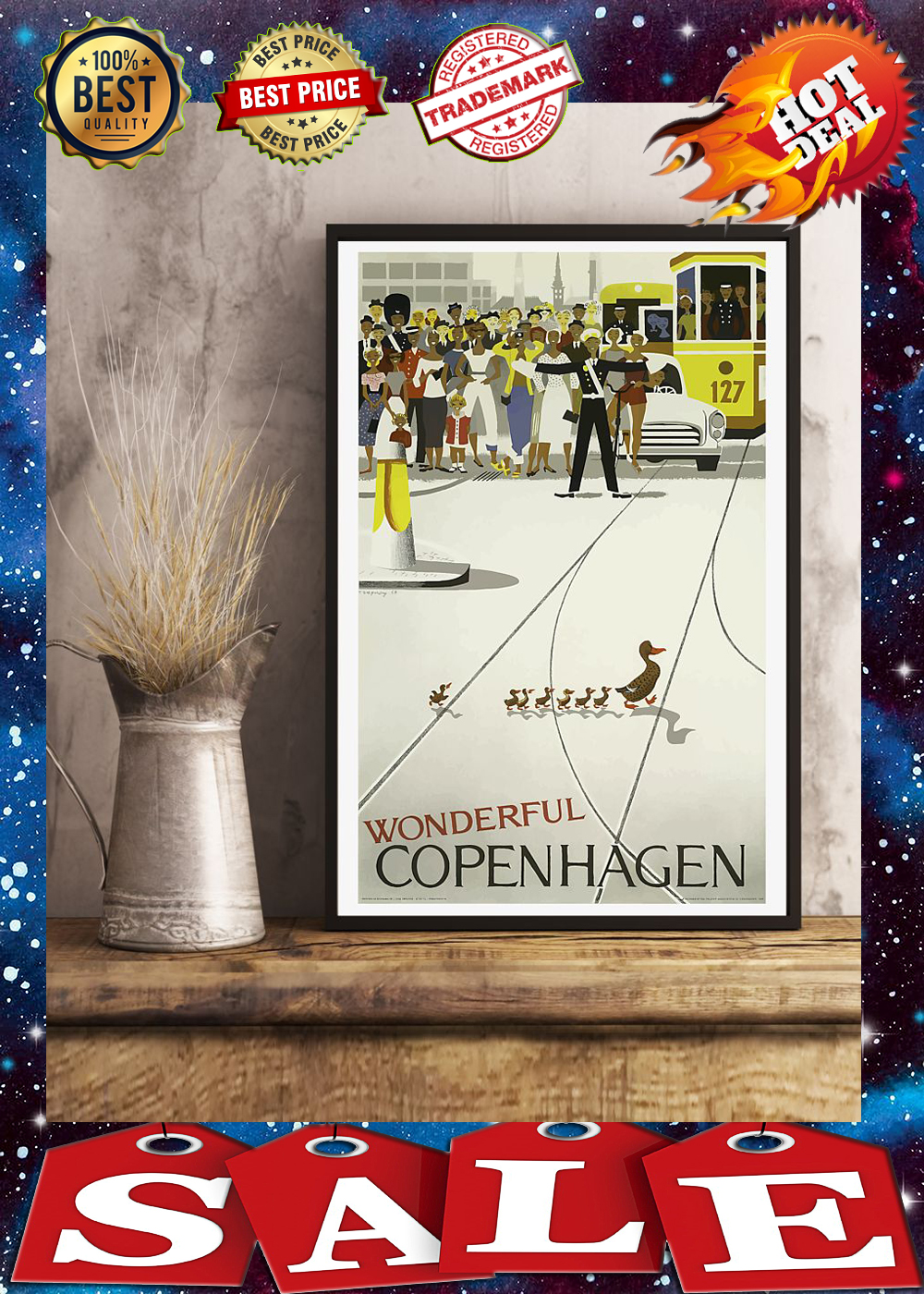 Van halencopenhagen vintage travel poster 1