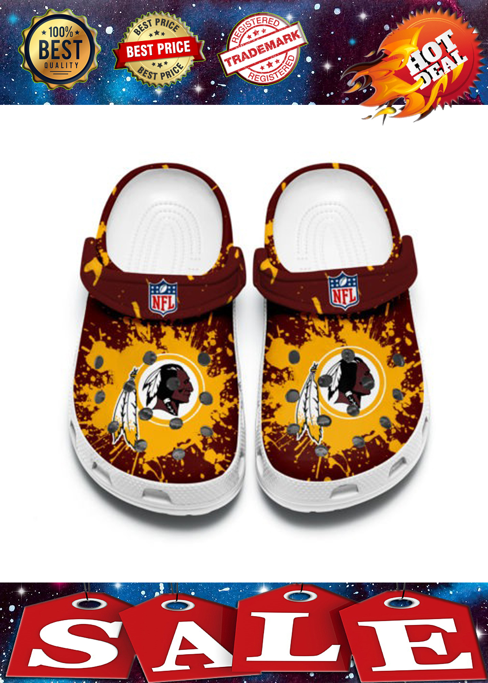 WASHINGTON REDSKINS CROCBAND CROCS SHOES 3