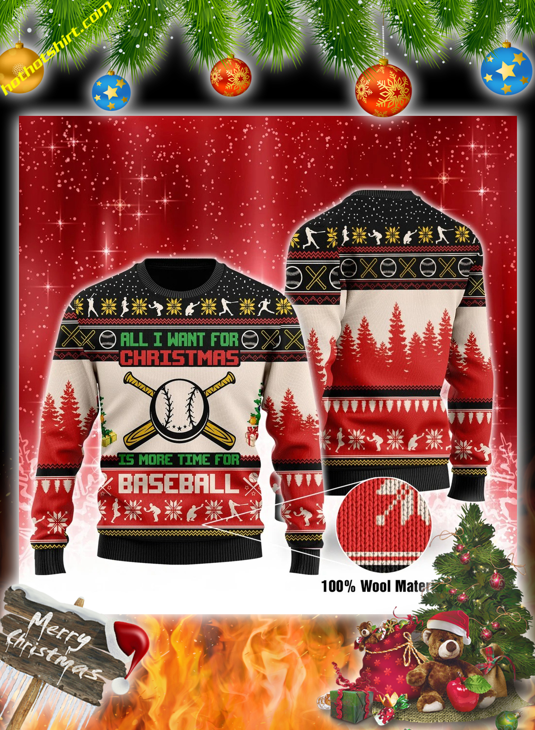 All i want for christmas is more time for baseball christmas sweater 3
