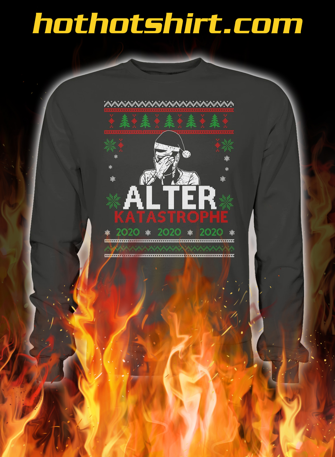 Alter katastrophe christmas ugly sweater- grey