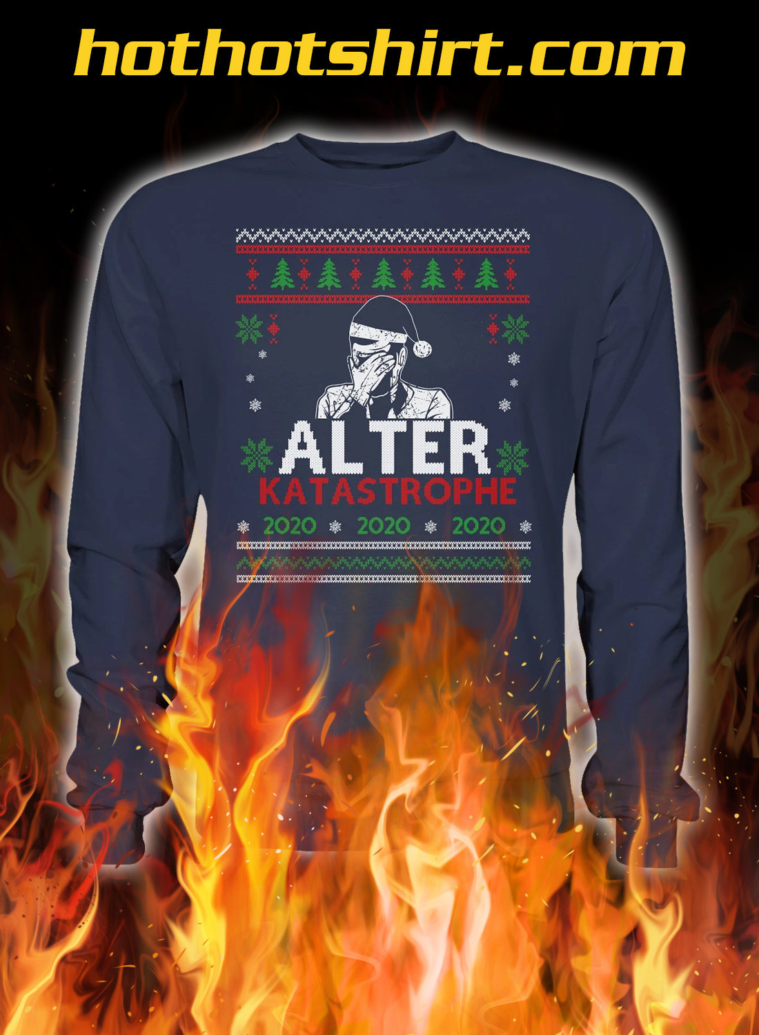 Alter katastrophe christmas ugly sweater- navy