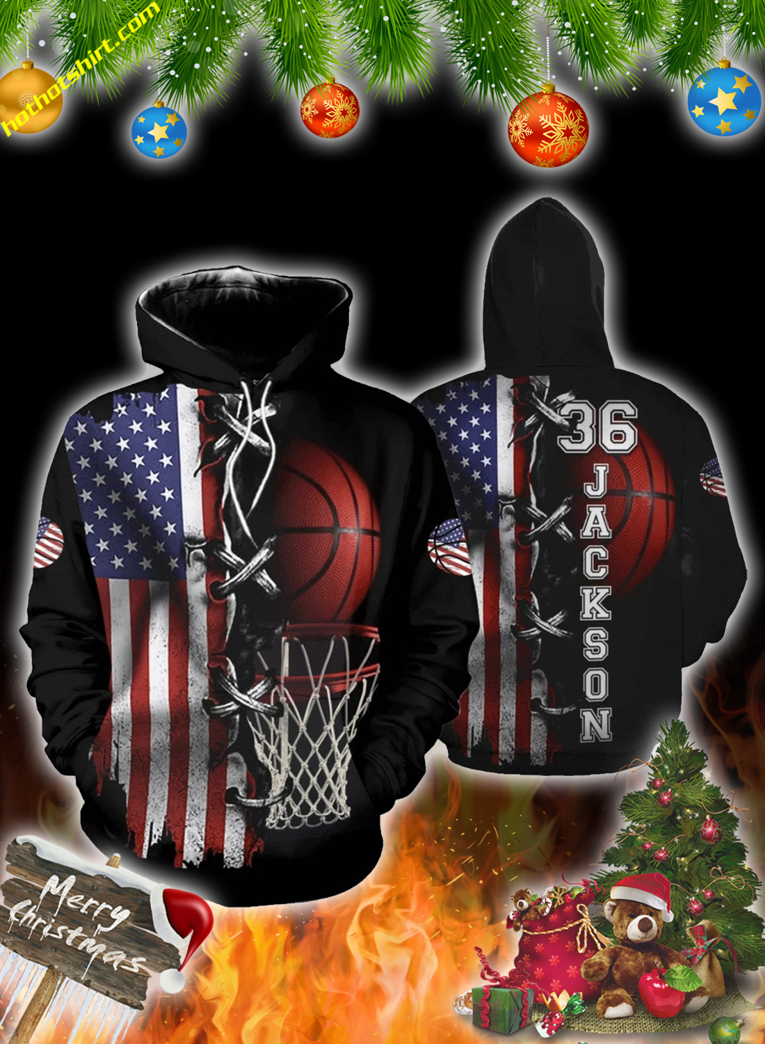 America basketball personalize customized number and name 3d hoodie 1