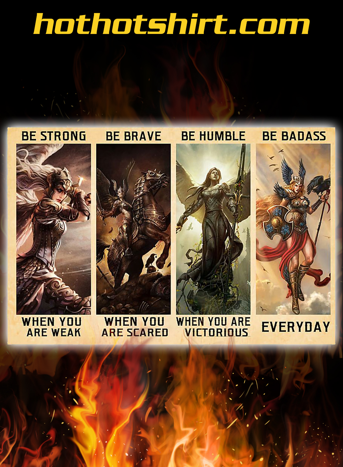 Angel warrior Valkyrie Be Strong Be Brave Be Humble Be Badass Poster 2