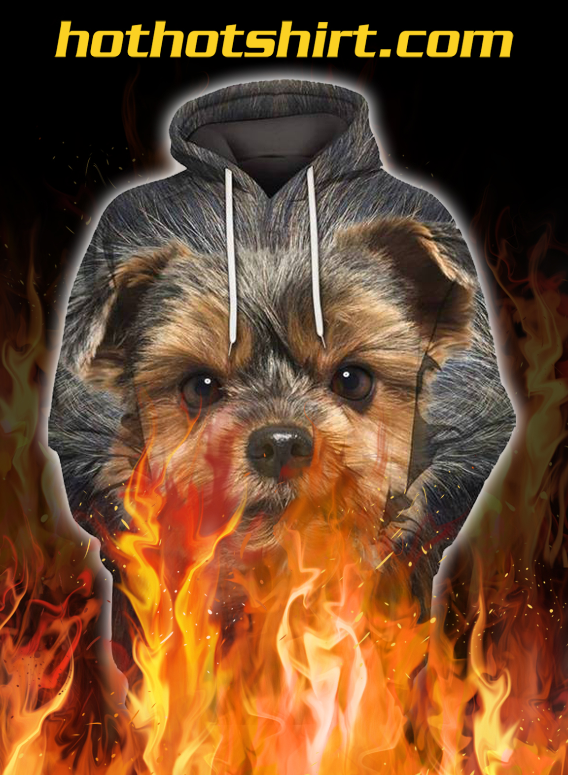 Animals dogs yorkshire terrier 3d hoodie - pic 1