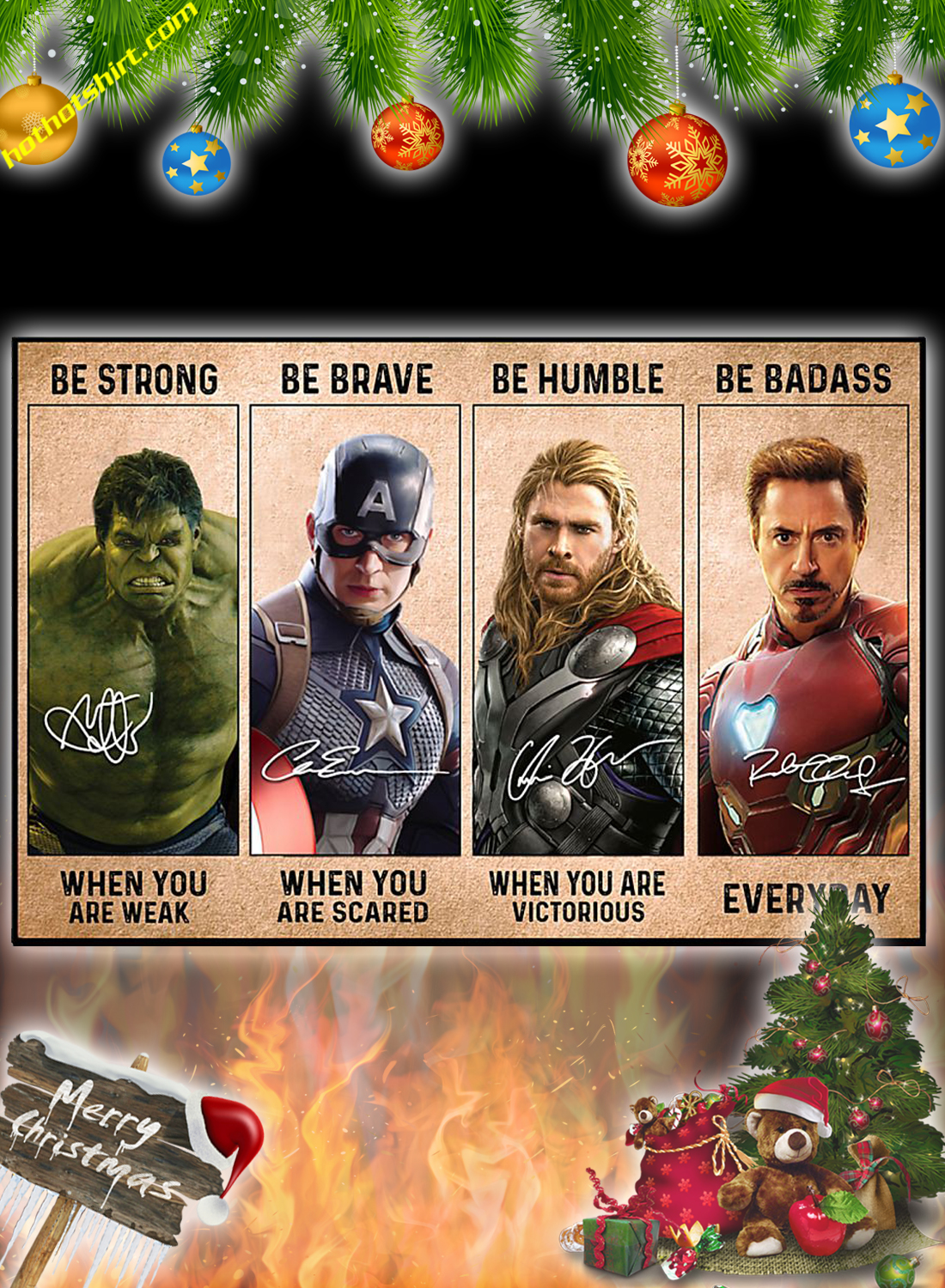 Avengers Marvel be strong be brave be humble be badass poster and canvas 1