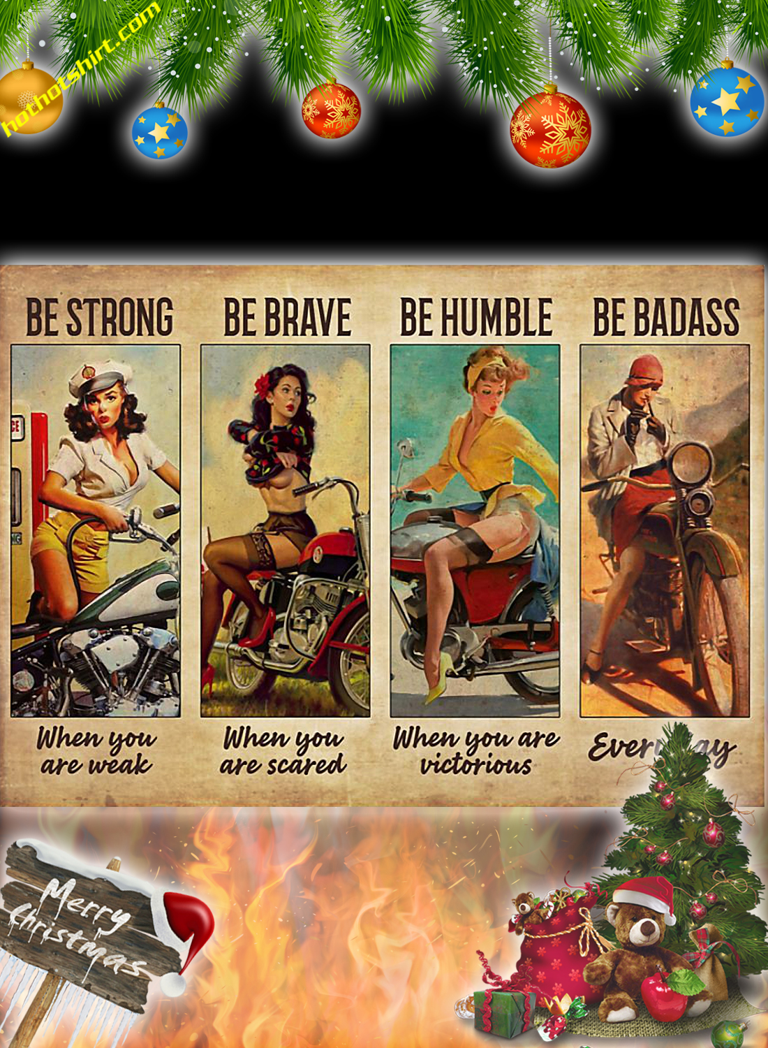 Biker girl be strong be brave be humble be badass poster and canvas 2
