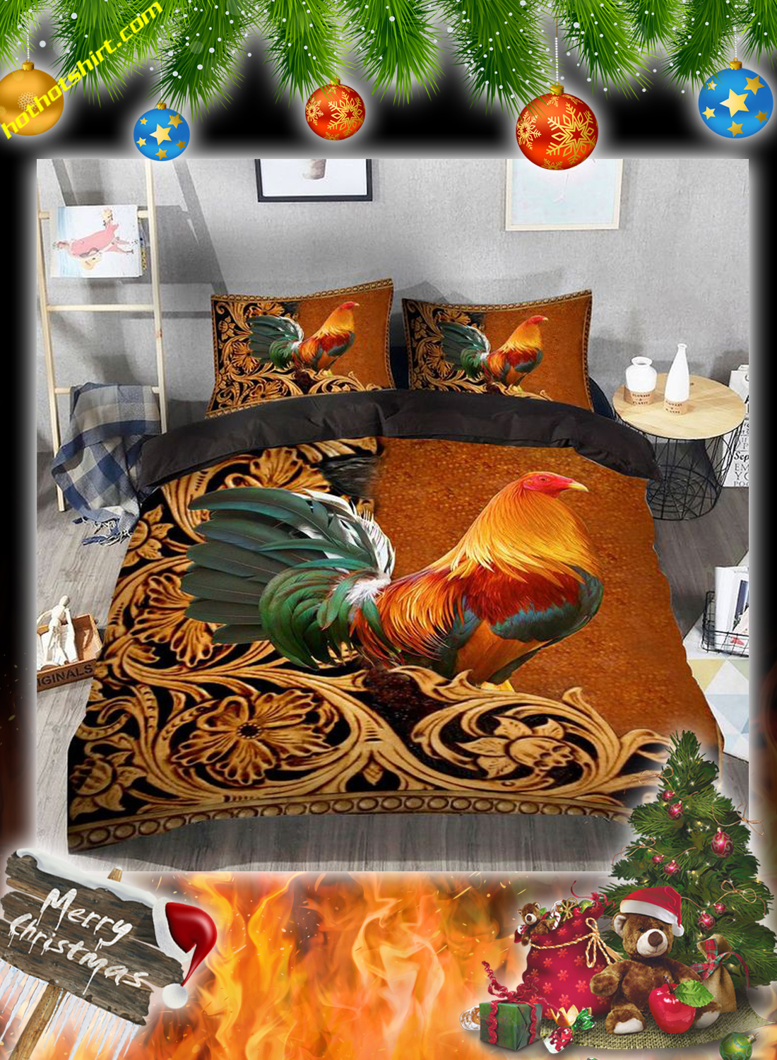 Chicken rooster bedding set 3
