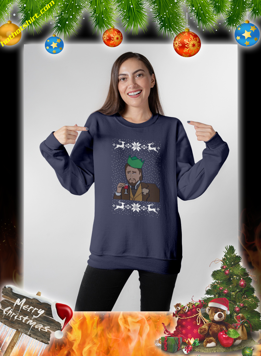 DiCaprio christmas jumper and sweatshirt 1