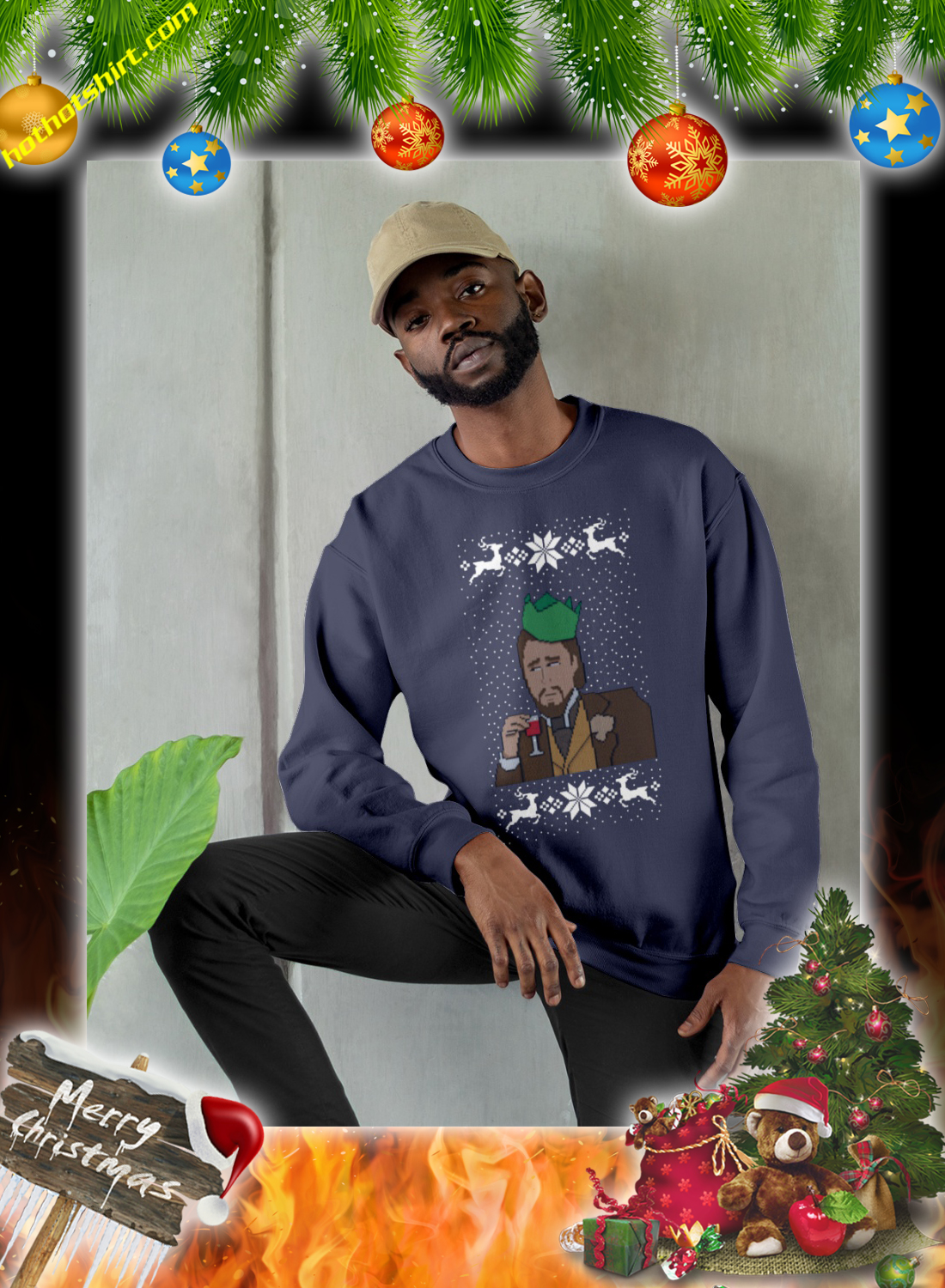 DiCaprio christmas jumper and sweatshirt 3
