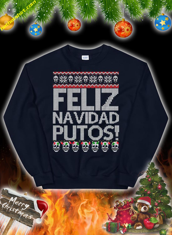 Feliz navidad putos skull ugly christmas sweater 1