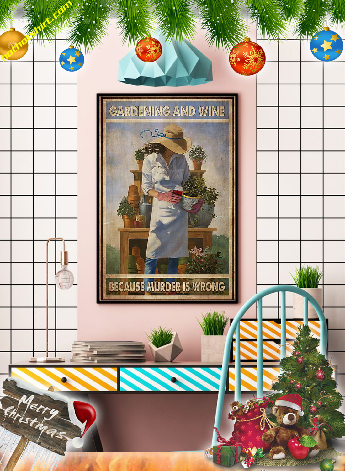 Girl Gardening and wine because murder is wrong poster 3
