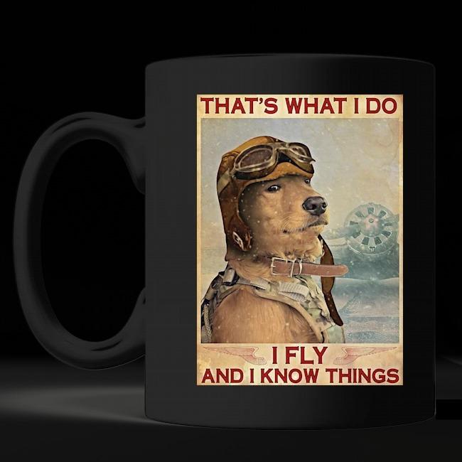 Golden Retriever Pilot That's what i do i fly and i know things mug