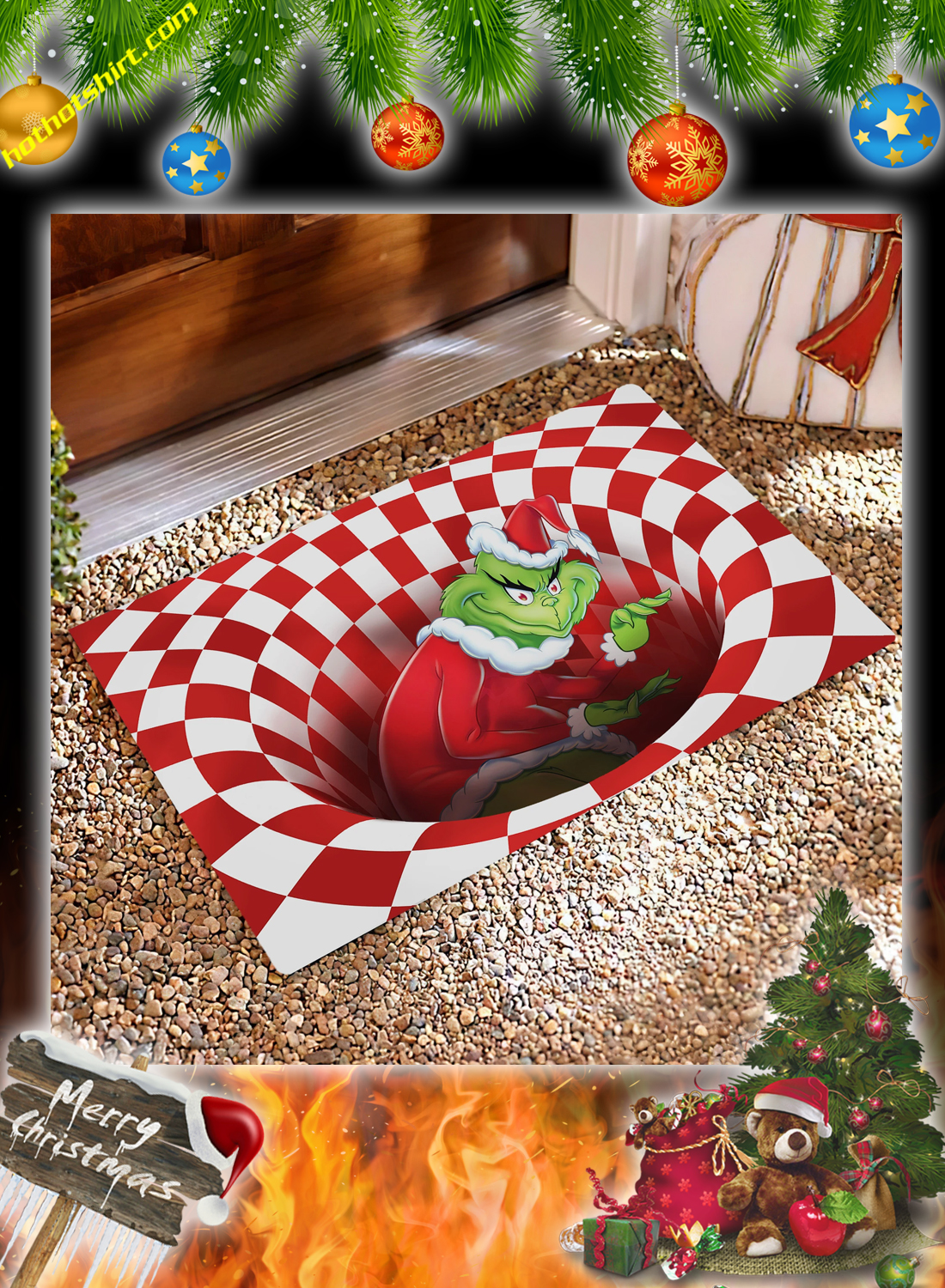 Grinch illusion doormat 1