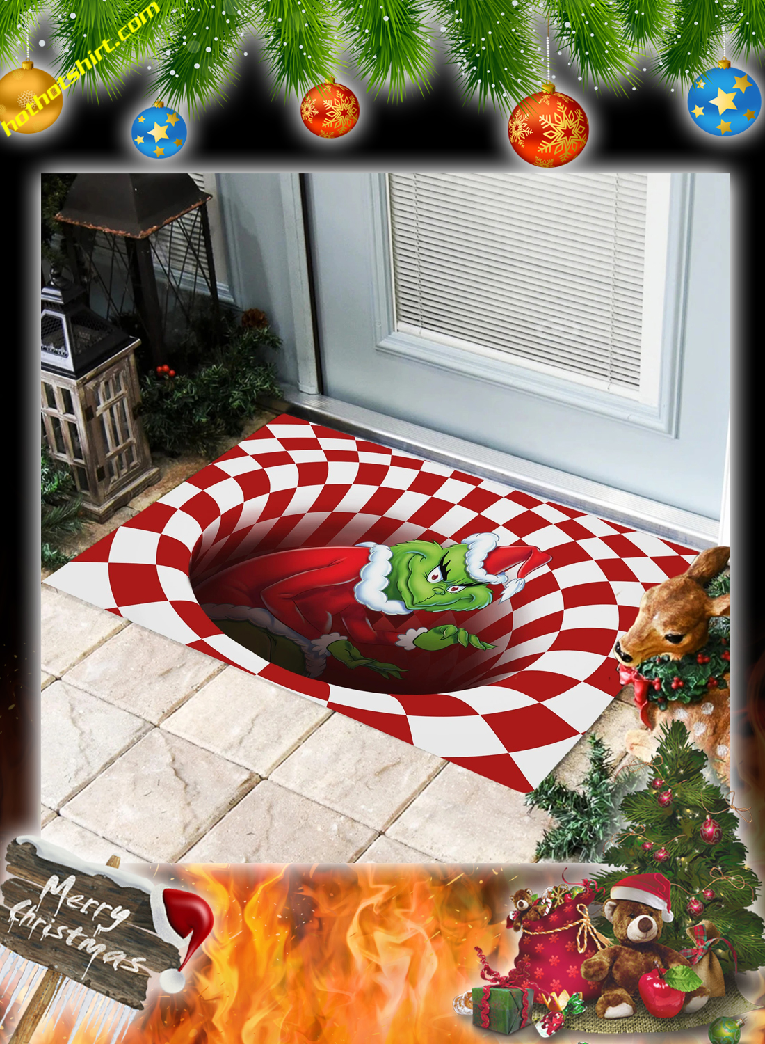 Grinch illusion doormat 2