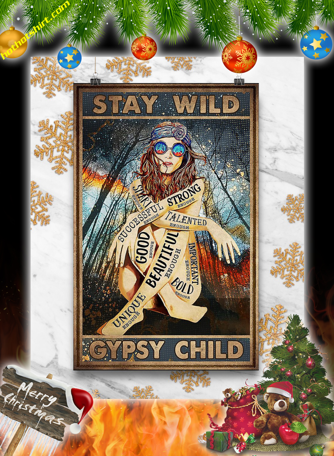 Hippie girl glasses stay wild gypsy child poster 1
