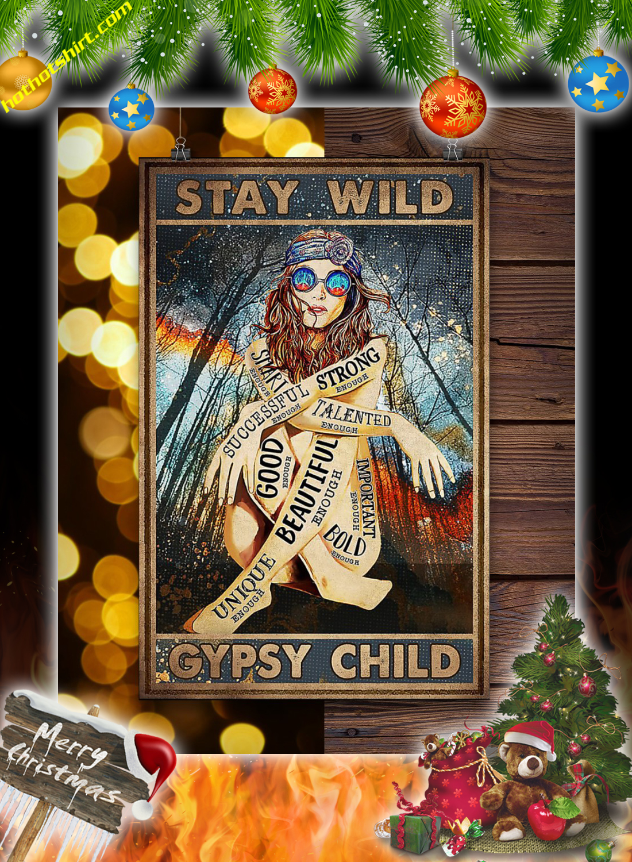 Hippie girl glasses stay wild gypsy child poster