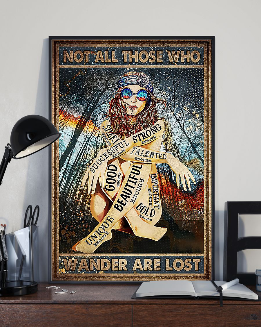 Hippie glasses girl Not all those who wander are lost poster 2