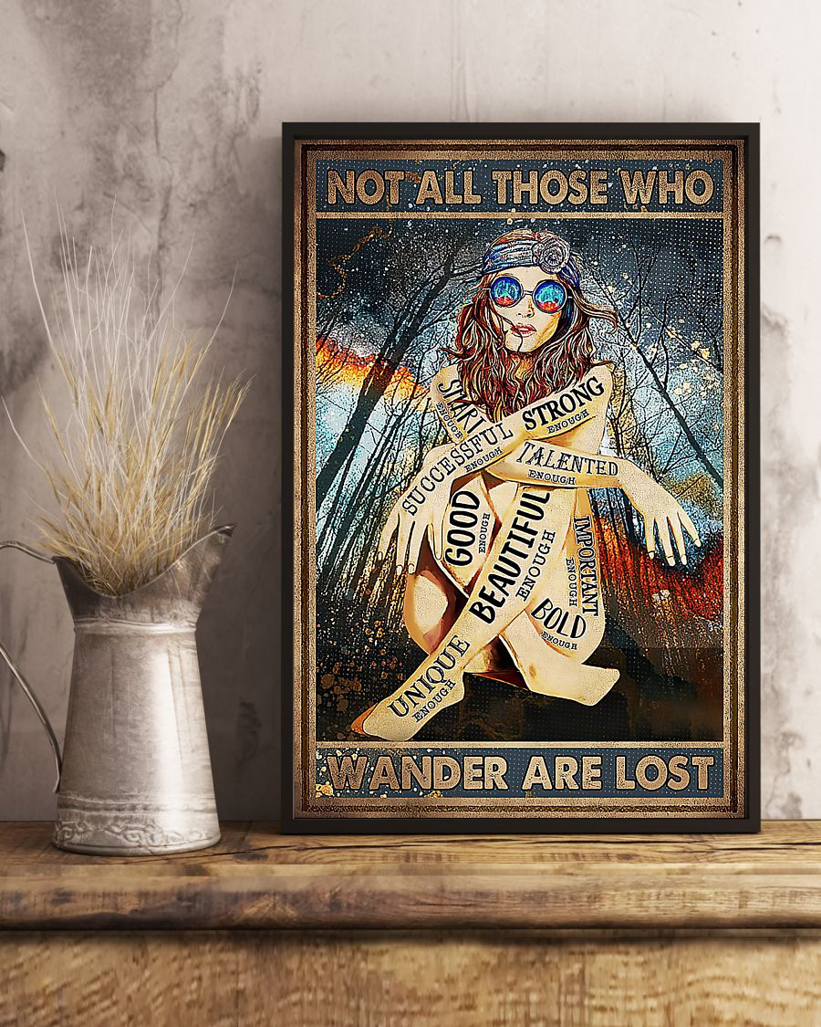 Hippie glasses girl Not all those who wander are lost poster 3
