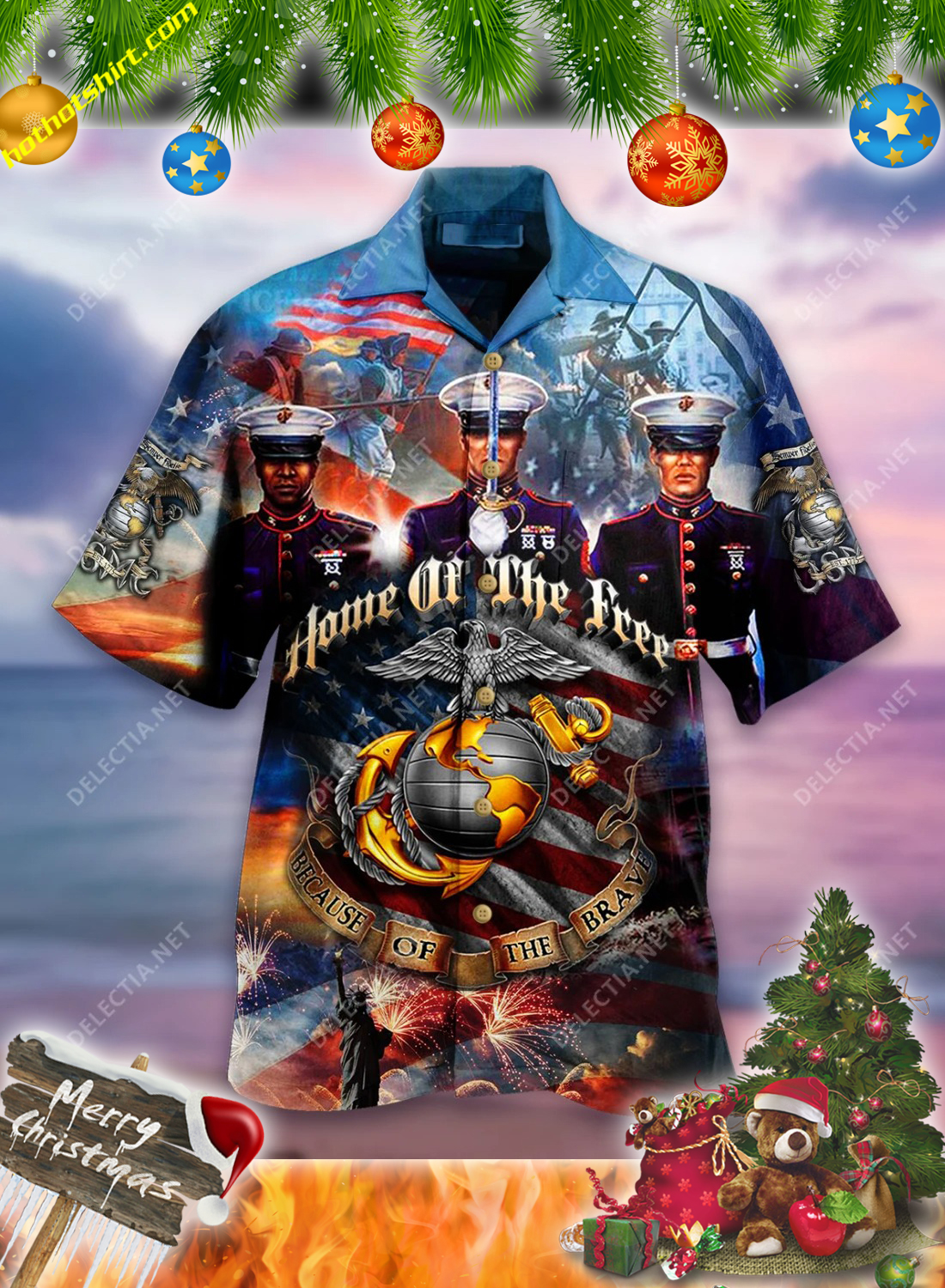 Home of the free because of the brave USMC hawaiian shirt 1