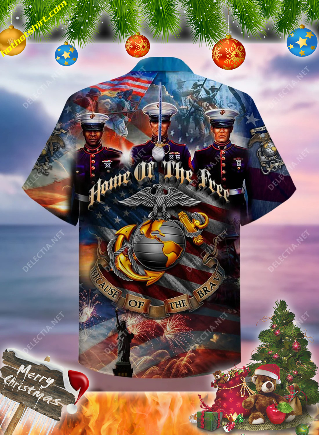 Home of the free because of the brave USMC hawaiian shirt 2