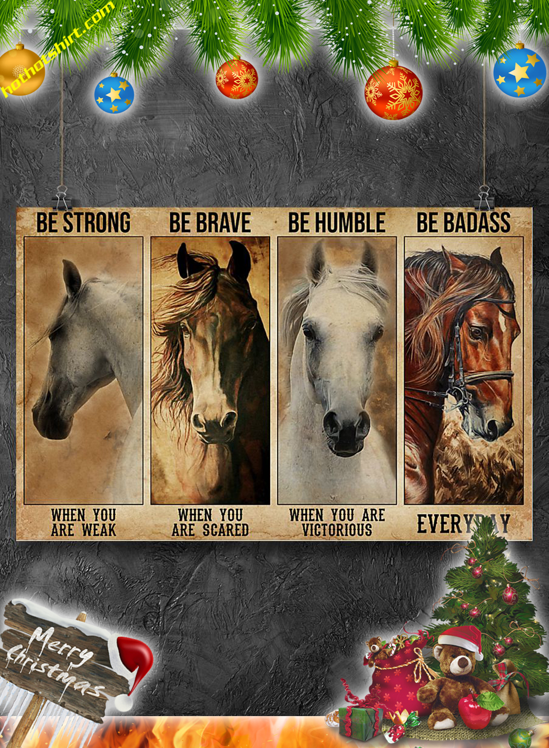 Horses Be strong be brave be humble be badass poster and canvas 1