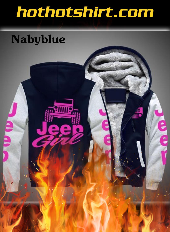 Jeep girl Fleece zip-up hoodie - navyblue