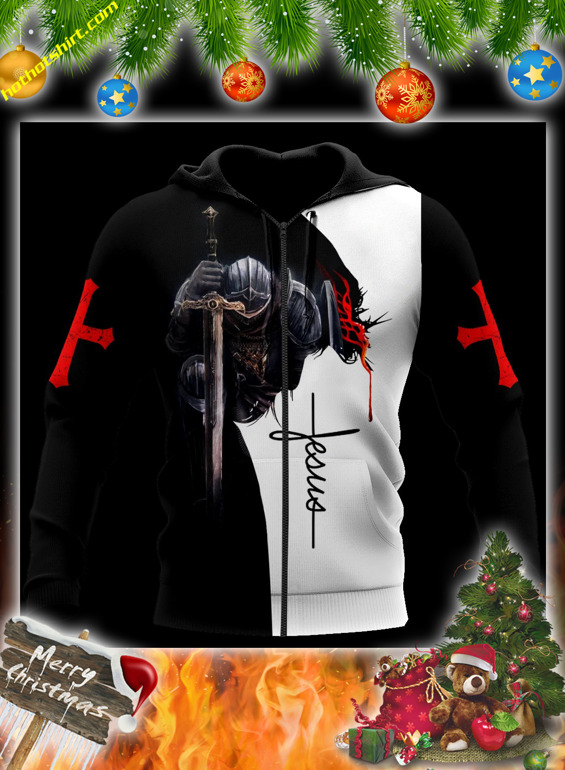 Jesus a child of god a man of faith a warrior of christ 3d all over printed hoodie 1