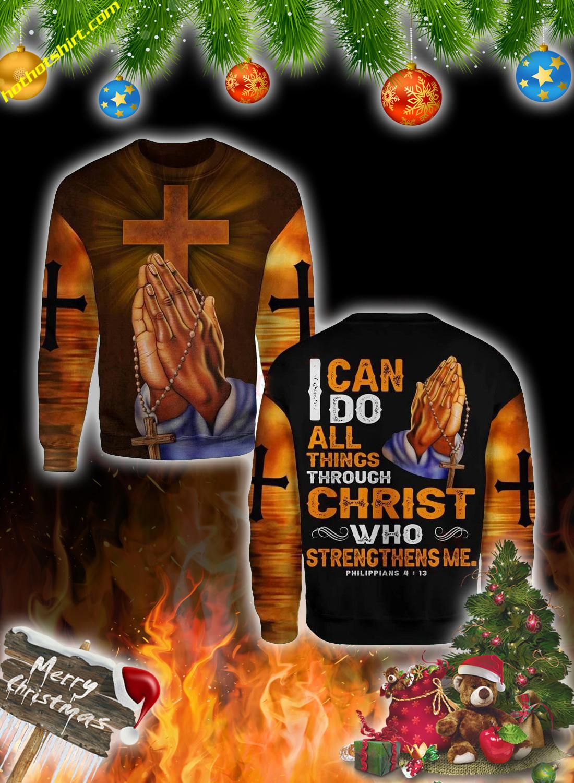 Jesus hand cross 3d christmas sweatshirt 2