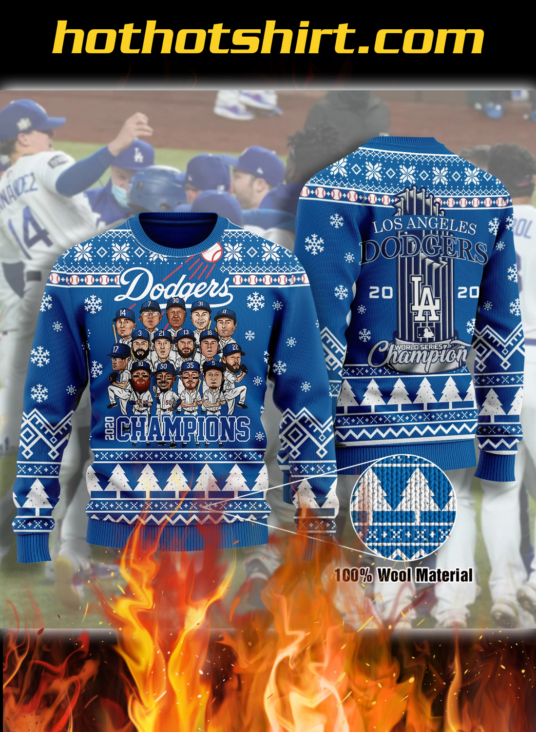 LA dodgers 2020 champions ugly christmas sweater 1