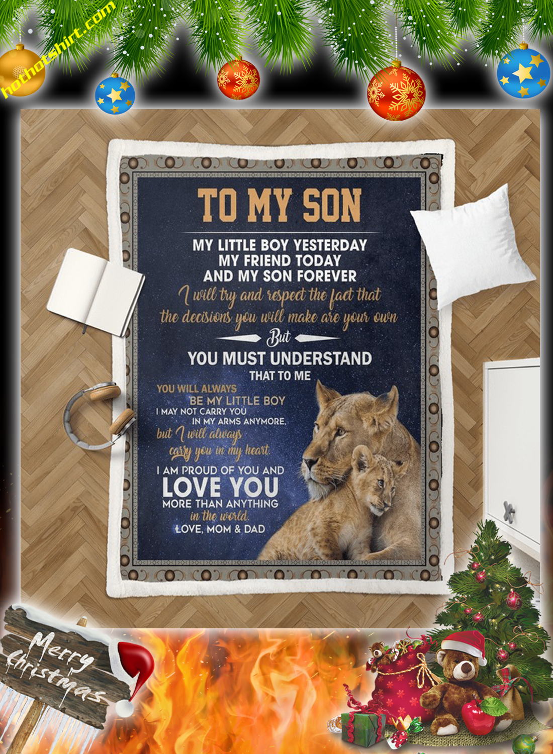 Lion To my son love mom and dad quilt 2