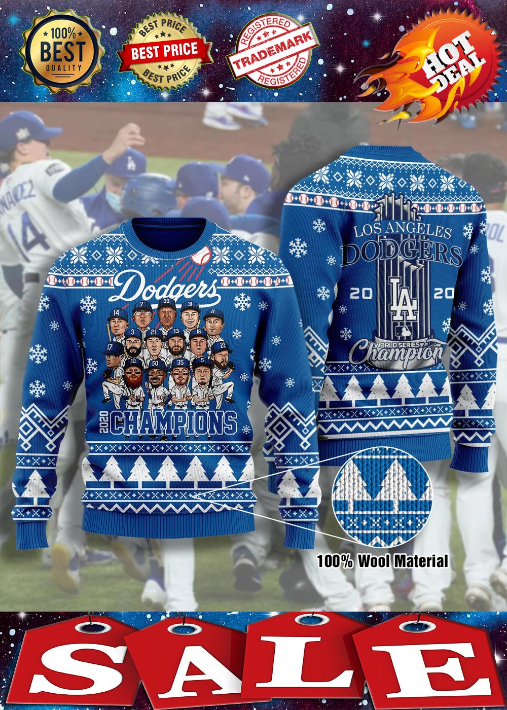 Los angeles dodgers champions 3d christmas sweatshirt 2